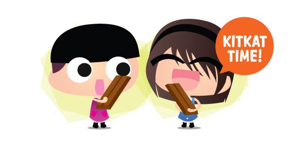 Eating Kitkat