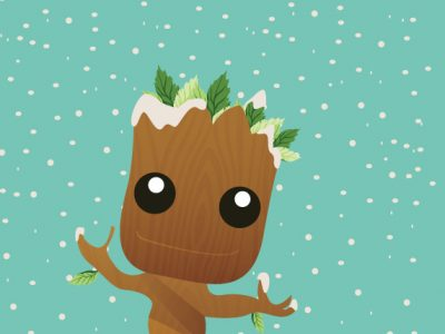 #wallpaper Baby Groot in Winter